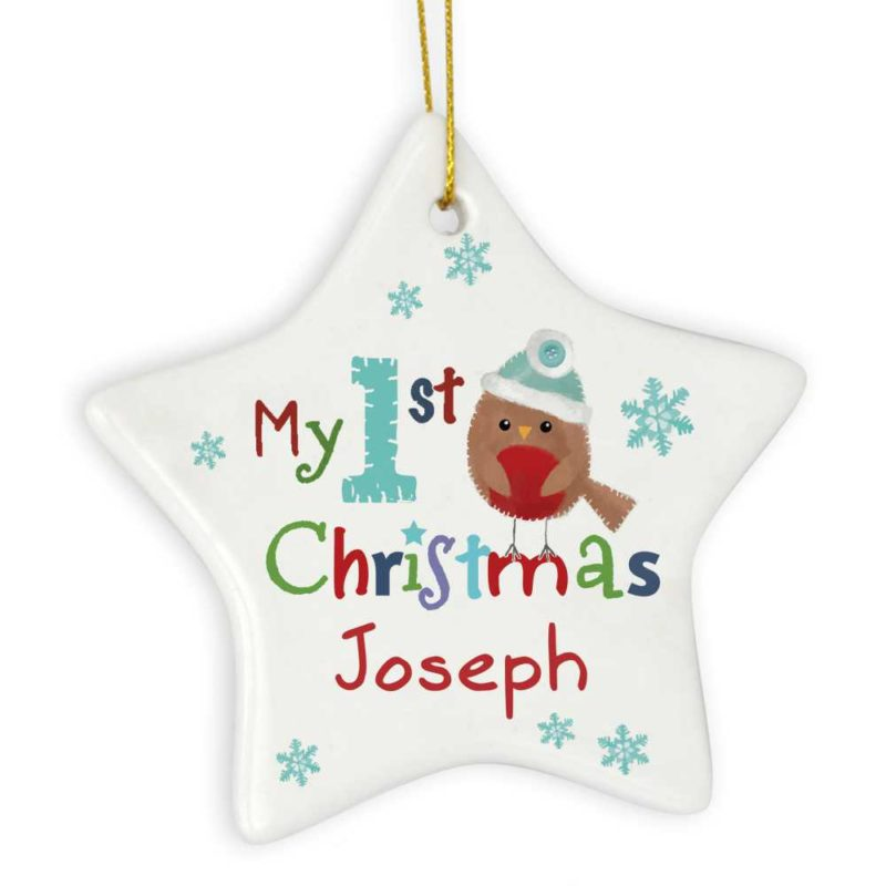 Personalised Festive Robin 'My 1st Christmas' Ceramic Star Decoration