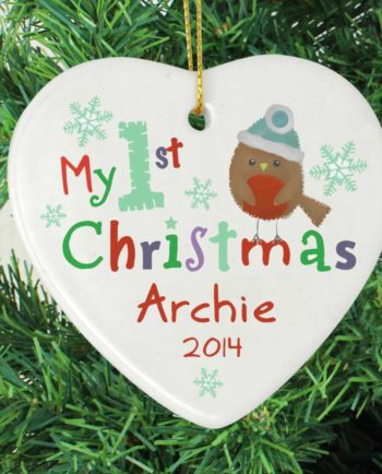 Personalised Baby's 'My 1st' Christmas Ceramic Heart