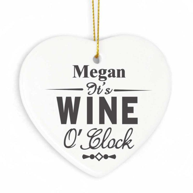 Personalised 'Wine O'Clock' Ceramic Heart Tag