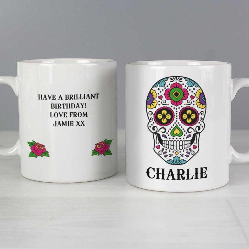 Personalised Day of the Dead Sugar Skull Mug