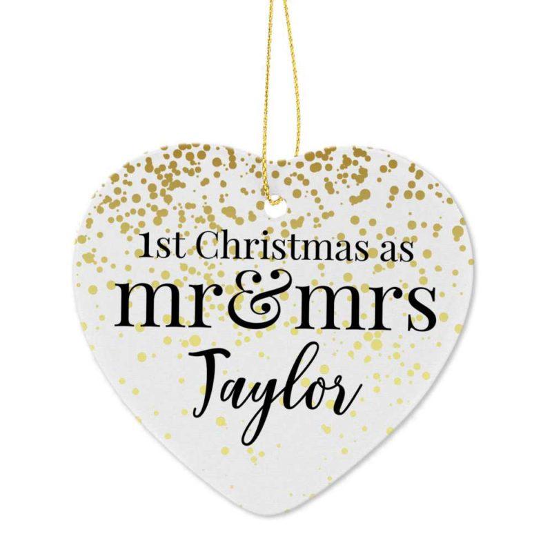 Personalised 'Mr & Mrs 1st Christmas' Ceramic Heart Decoration