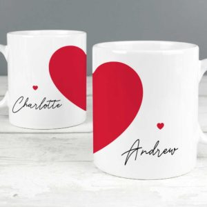 Personalised Two become One Heart Mug Set