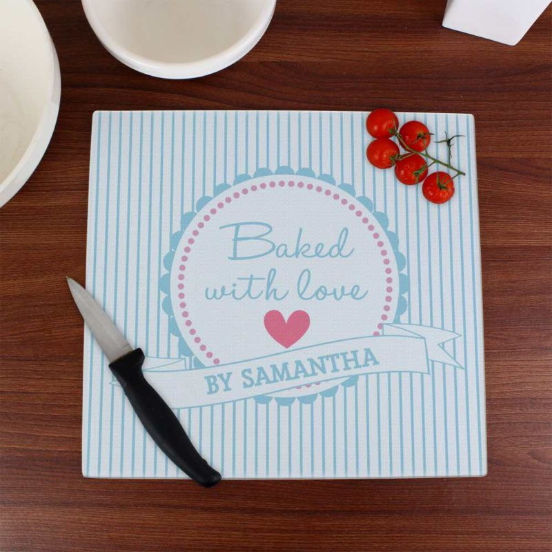 Personalised 'Baked With Love' Glass Chopping Board