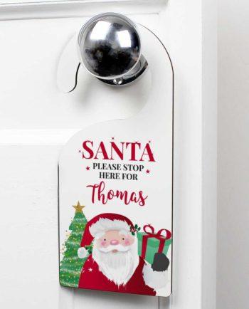 Personalised 'Santa Stop Here' Door Hanger