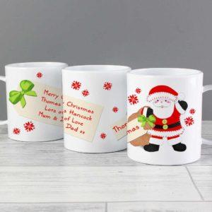 Personalised Santa and his Present Sack Plastic Mug