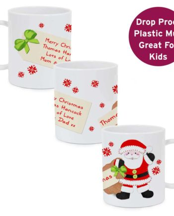 Personalised Santa and his Present Sack Plastic Mug