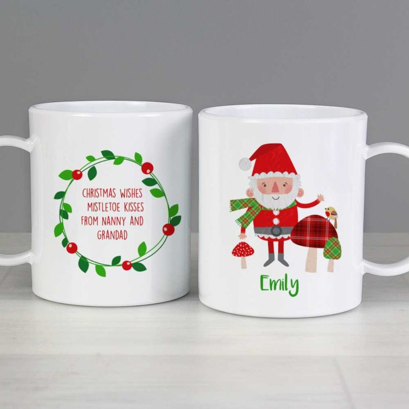 Personalised Santa & His Christmas Toadstools Plastic Mug