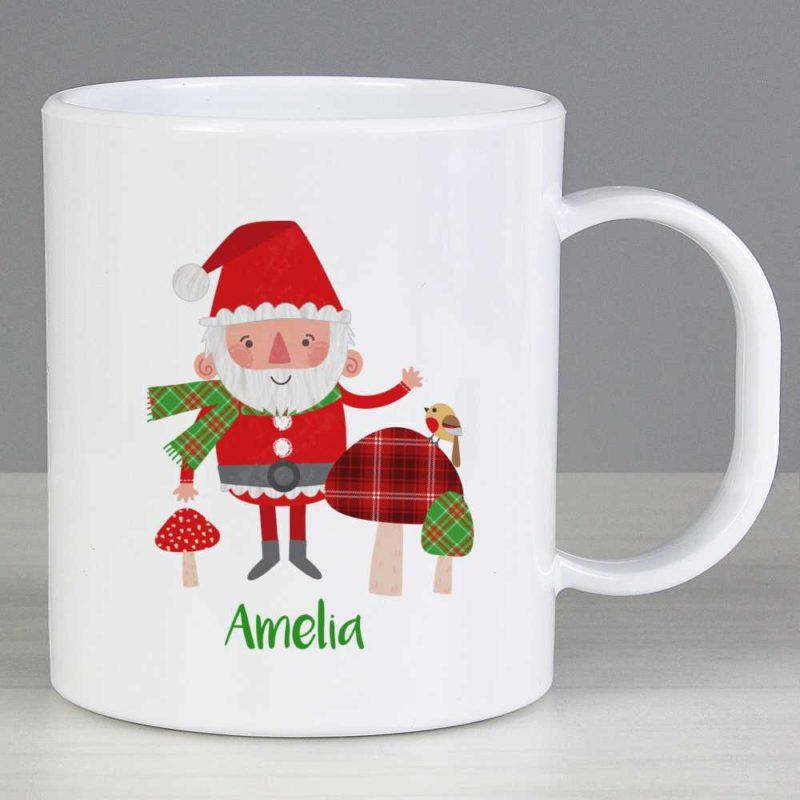 Personalised Santa & His Christmas Toadstools Plastic Mug