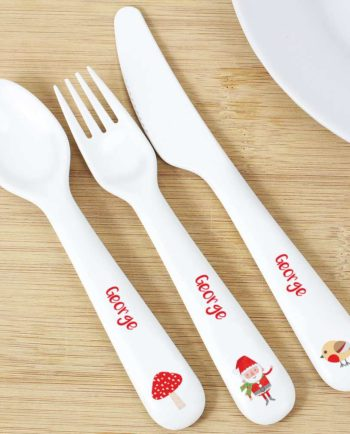 Personalised Christmas Toadstool Santa 3 Piece Plastic Cutlery Set