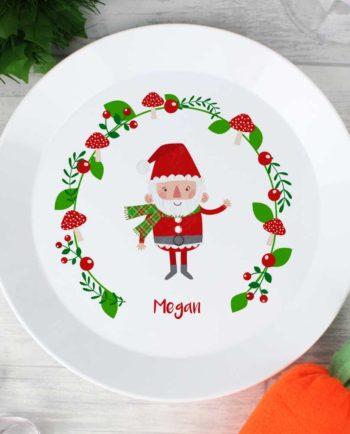 Personalised Christmas Toadstool Santa Plastic Plate
