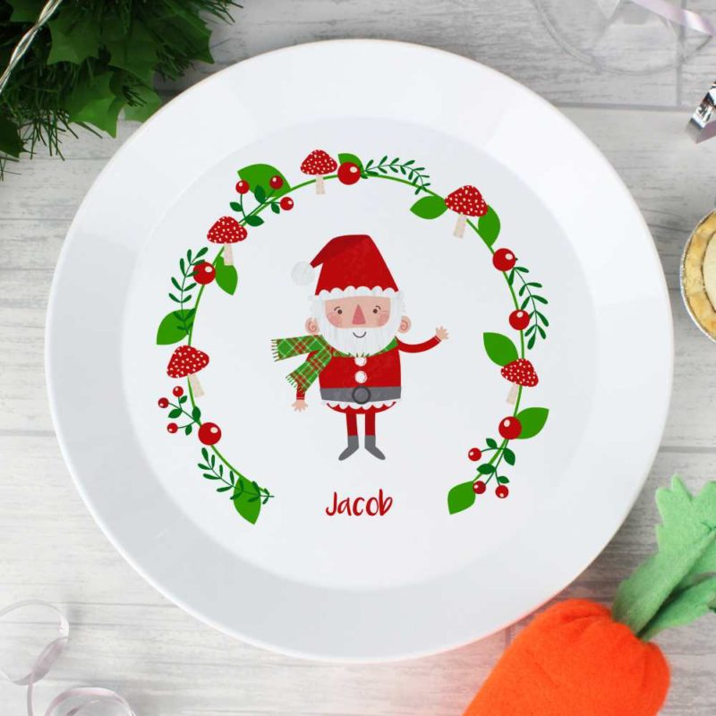 Personalised 'Santa & His Christmas Toadstools' Plastic Plate