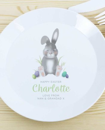 Personalised Grey Easter Bunny Plastic Plate
