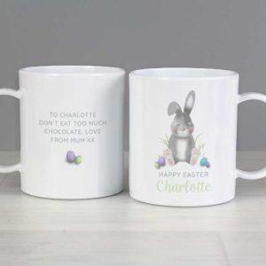 Personalised Grey Easter Bunny Plastic Mug