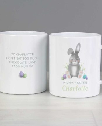 Personalised Grey Easter Bunny Plastic Mug