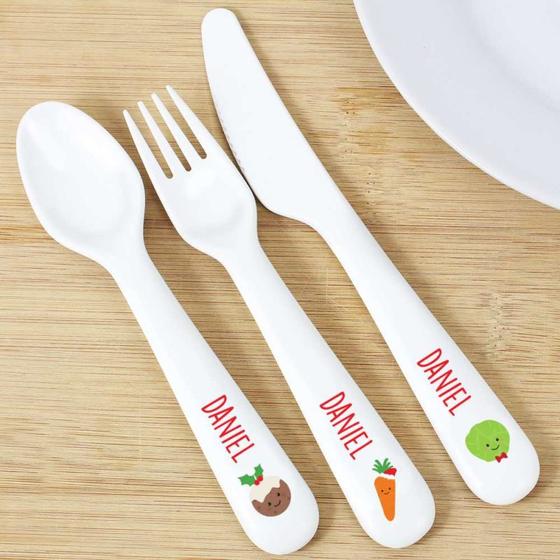 Personalised 'First Christmas Dinner' 3 Piece Plastic Cutlery Set