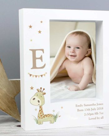 Personalised Cute Giraffe and Initial 7x5 Box Photo Frame