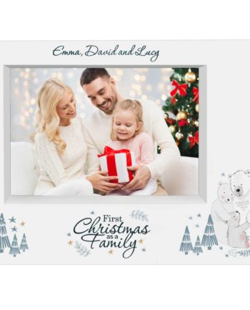 Personalised Polar Bear '1st Christmas As A Family' 7x5 Box Photo Frame