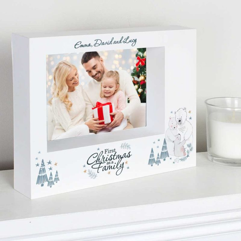 Personalised '1st Christmas As A Family' 7x5 Box Photo Frame