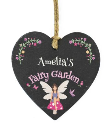 Personalised Fairy Garden Slate Heart Decoration