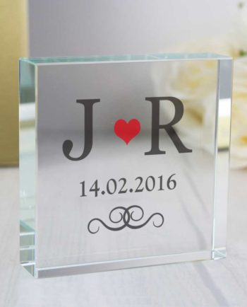 Personalised Couples Initials Large Crystal Token