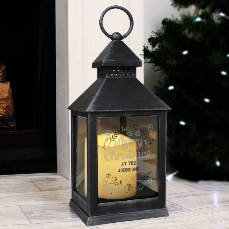 Personalised 'Christmas Frost' Rustic Black Lantern