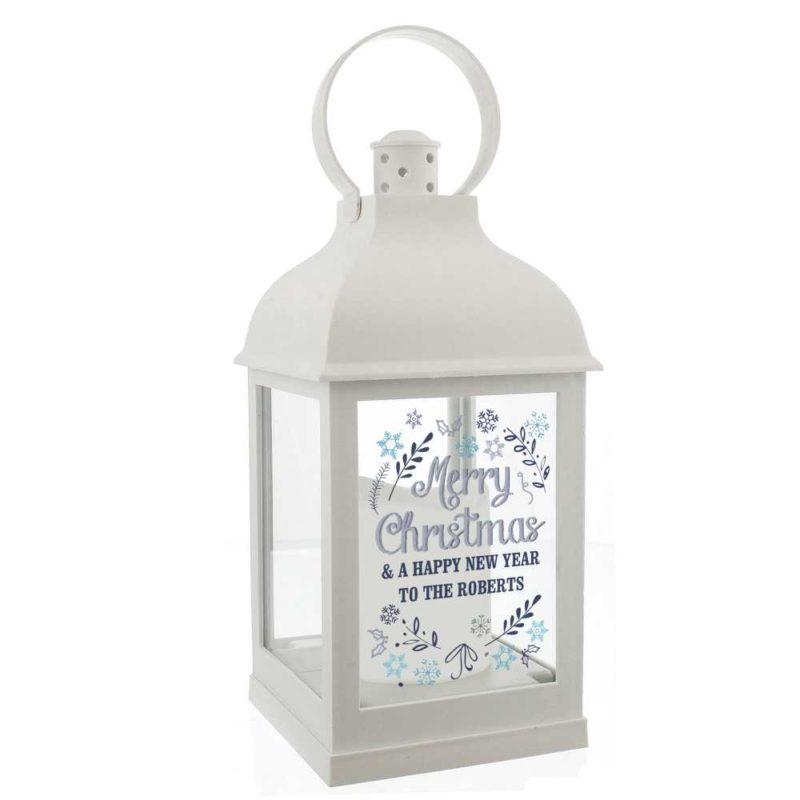 Personalised 'Christmas Snowflake' White Lantern