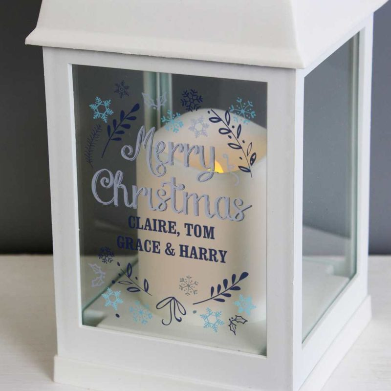 Personalised 'Christmas Snowflake' White Lantern