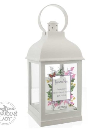 Personalised Country Diary Botanical White Lantern