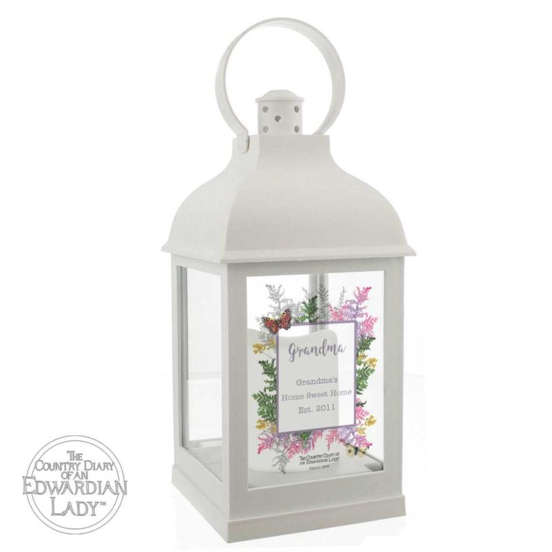 Personalised 'Country Diary' Botanical White Lantern