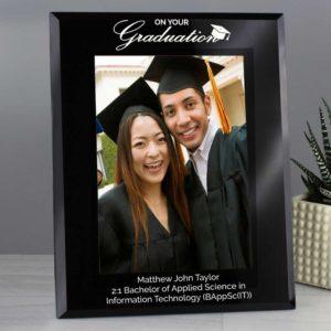 Personalised Black Glass Graduation Photo Frame