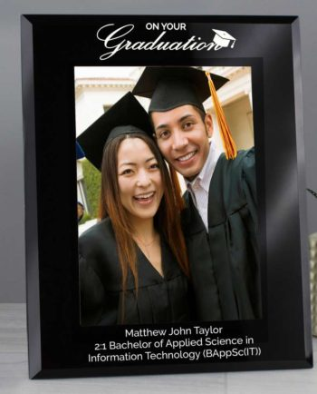 Personalised Black Glass Graduation Photo Frame