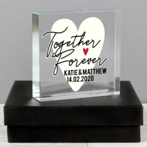Personalised 'Together Forever' Heart Large Crystal Token