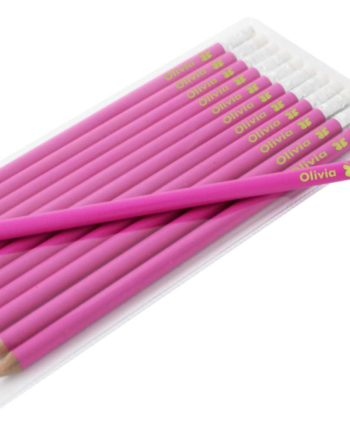 Personalised Butterfly Motif Hot Pink Pencils