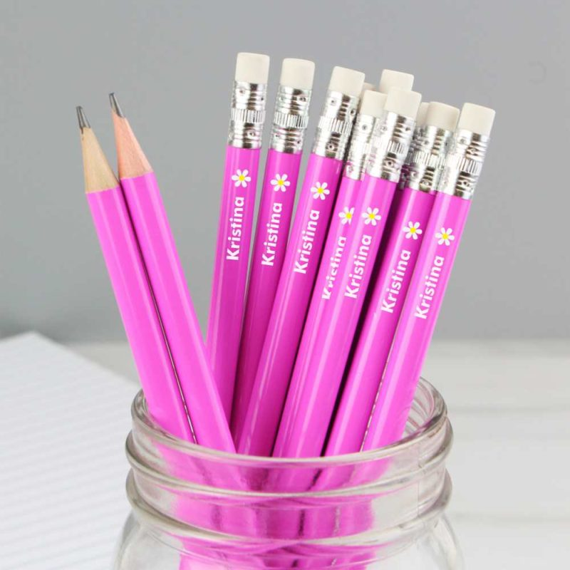 Personalised Daisy Flower Motif Hot Pink Pencils