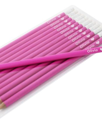 Personalised Heart Motif Hot Pink Pencils