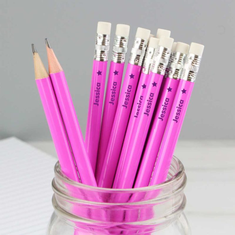 Personalised Star Motif Hot Pink Pencils