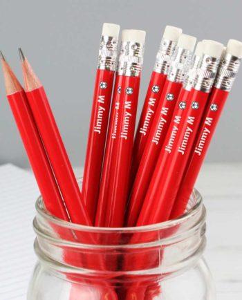 Personalised Football Motif Red Pencils