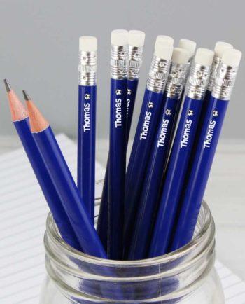 Personalised Football Motif Blue Pencils