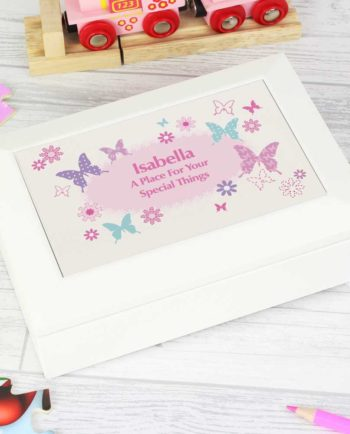 Personalised Butterfly Wooden Jewellery Box