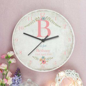 Personalised Pastel Flower Rustic Wooden Clock