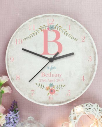 Personalised Pastel Flower Rustic Wooden Clock