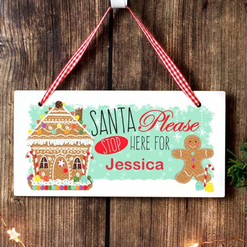 Personalised Gingerbread House 'Santa Stop Here' Wooden Sign