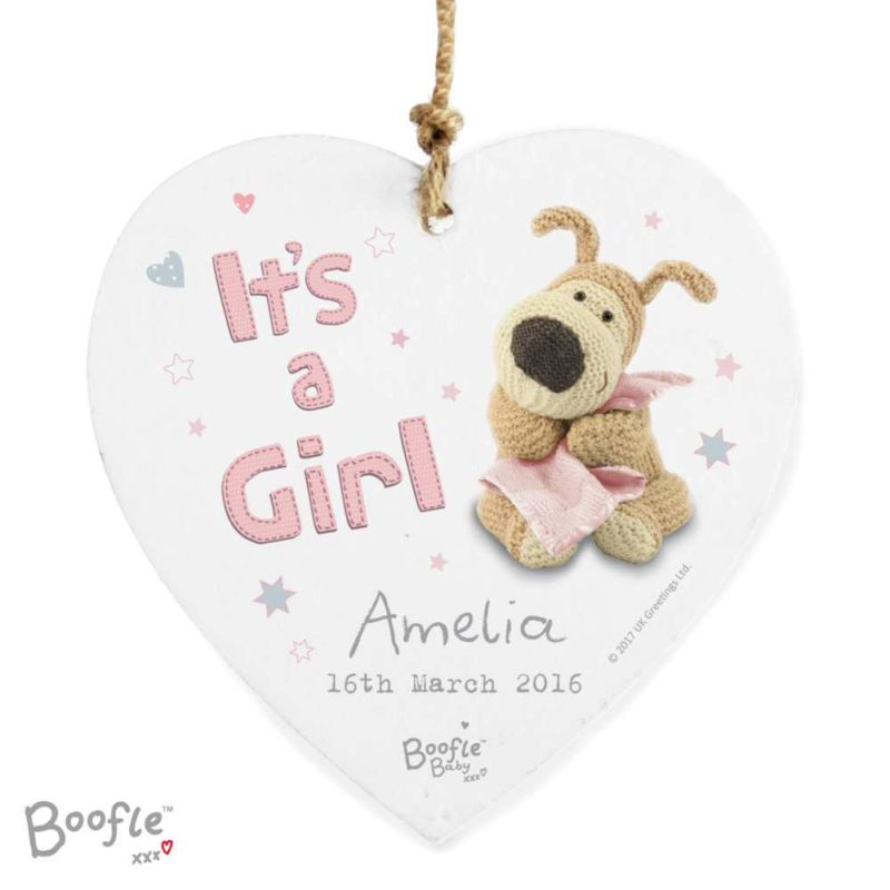 Personalised 'Its A Girl' Boofle Wooden Heart Decoration