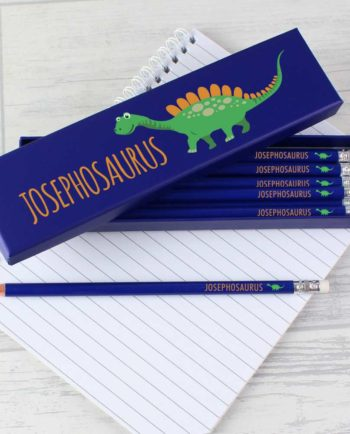 Personalised Cute Dinosaur Box of 12 HB Pencils