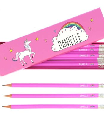 Personalised Unicorn and Rainbow Hot Pink Pencils and Box