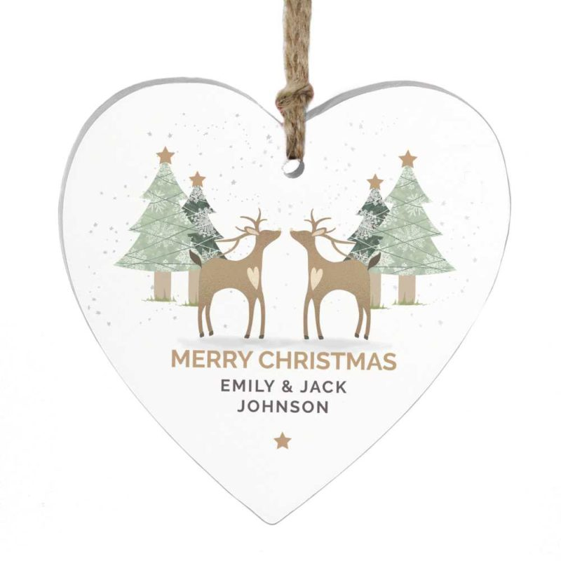 Personalised Reindeer Wooden Heart Decoration