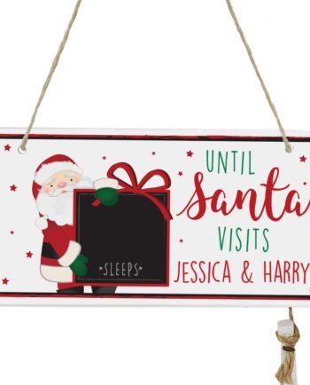 Personalised Santa Christmas Chalk Countdown Wooden Sign