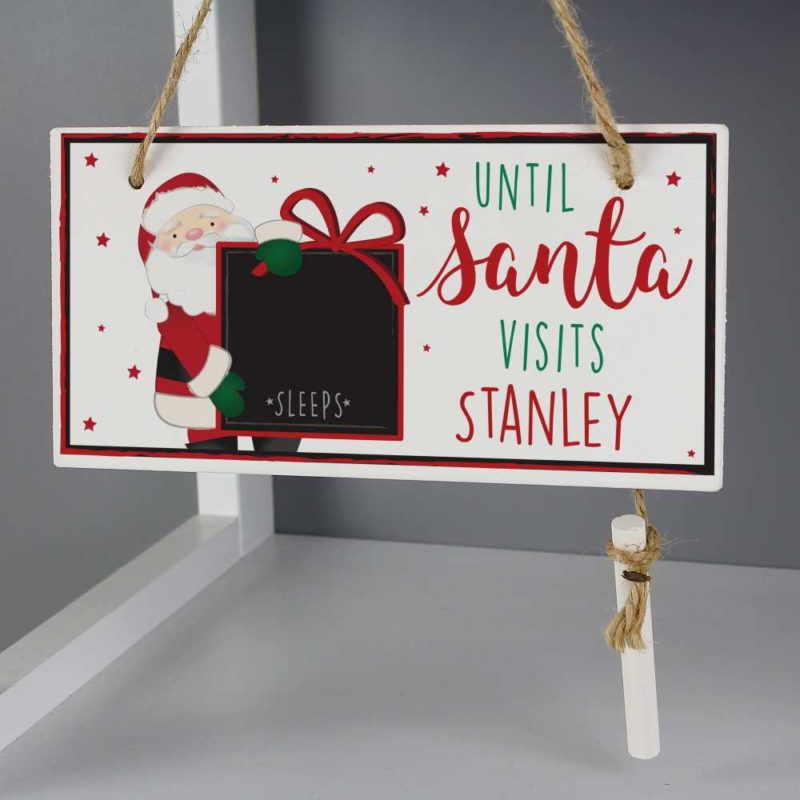 Personalised Santa Christmas Countdown Wooden Sign
