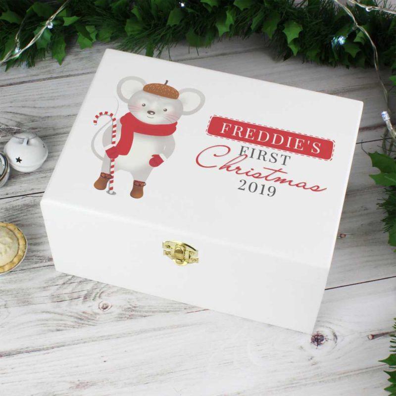 Personalised '1st Christmas' Cute Mouse Wooden Keepsake Box