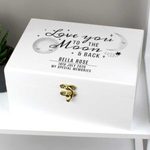 Personalised White Wooden Keepsake Box for New Baby